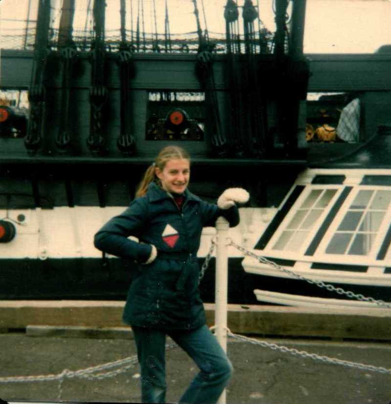 Laura Sapelly in front of Old Ironsides, Charlestown, MA, 1979